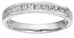 10k White Gold Princess Cut Channel-Set Wedding Band (1/2 cttw, I-J Color, I2-I3 Clarity), Size 7 -- Read review @ http://www.amazon.com/gp/product/B015ZIZ77W/?tag=finejewelry4u.com-20&pij=130716081738