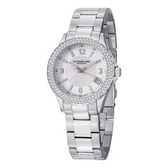 The Iris isa  beautiful ladies watch that is powered by a Swiss Quartz Movement. Its dial has a mother of pearl center dial with a matte finish outer dial and has dauphine style hands. The bezel is polished beautifully with a studded Swarovski crystals.