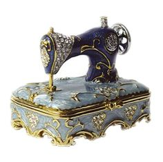 Vintage Victorian Blue Sewing Machine Trinket Box Does anybody know how to convert British pound to American dollars? I really want this!