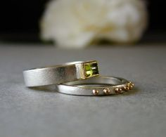 Lovely Peridot Stacking Ring Set in Sterling 18kt by betsybensen