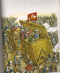 A Hussite War Wagon in use in Bohemia against the forces of the Holy Roman Empire. First used about 1420. Painting by Angus McBride
