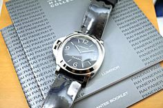 Panerai Pam 219 base luminor stainless steel complete box, books and card unworn c. 2011 for sale by fabsuisse High End Watches, Watch Case, Stainless Steel Case, Black Leather, Base, Hands, Crown, Jewels, Stuff To Buy