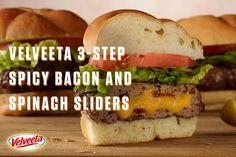 VELVEETA 3-Step Spicy Bacon and Spinach Sliders - Juicy flavors that ooze deliciousness! With bacon, spinach and Liquid Gold it's the perfect way to end the work week. For more Endless Gold recipes visit velveeta.com