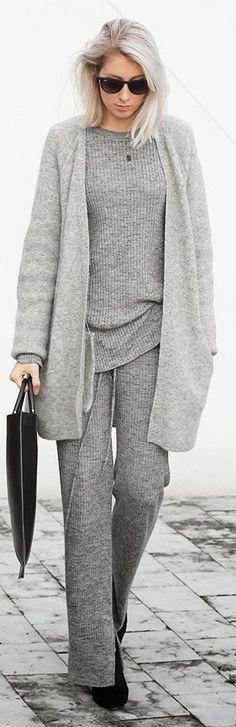 Grey Monochromatic Stripe Suit
