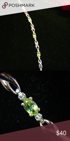Hebei Peridot Bracelet (6.50 In) Perfect for the summer, this classy Hebei Peridot bracelet will brighten up your look. Pair this with a Hebei peridot ring and make it a set! Platinum over Sterling Silver TGW 2.080 cts. Jewelry Bracelets