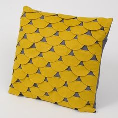 Items similar to Scallops Pillow Cushion Cover 14 x 14 - Mustard Yellow and Grey Felt Applique on Etsy Felt Cushion, Felt Pillow, Grey Pillows, Throw Pillows, Pillow Texture, Creation Couture, Felt Applique, Sewing Pillows, Mellow Yellow