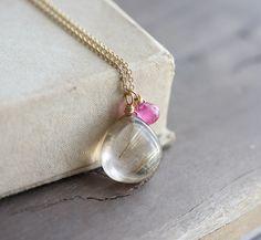 Gemstone briolette necklace - golden rutilated quartz & pink ruby on delicate gold chain