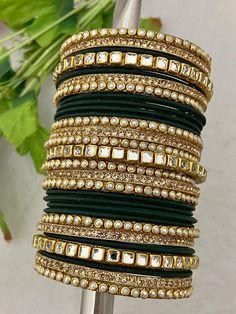Fancy Jewellery, Stylish Jewelry, Luxury Jewelry, Fashion Jewelry, Bangle Set, Thread Bangles Design, Indian Bangles, Bridal Chura, Lehnga Dress
