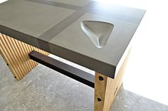 Urban / Industrial Bar Table | Concrete + Wood + Steel on Etsy, $1,350.00
