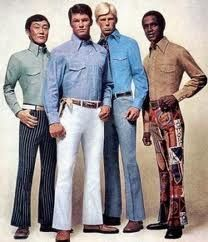 bell bottom pants with tucked in long-collared shirts were ver. - Men's style, accessories, mens fashion trends 2020 Mode Masculine, Costume Année 60, 1960s Costumes, Bell Bottom Pants, Bell Bottoms, Fashion Fail, Fashion Trends, Male Fashion, Trendy Fashion