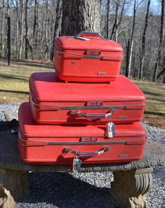 Vintage American Tourister Suitcase Set of 3 Red by PanchosPorch