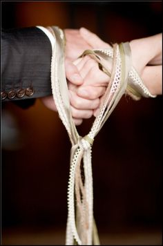 Handfasting is an ancient ceremony of betrothal that dates back to pre-Medieval times and usually involves the tying or binding of the hands of the bride and groom with a cord or ribbon.
