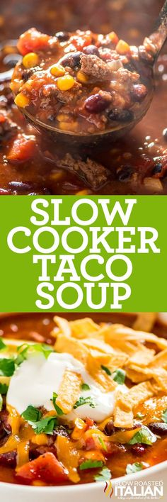 Slow cooker taco soup combines seasoned beef with beans and veggies for an easy, filling meal. Add your favorite toppings and enjoy! Slow Cooker Tacos, Crock Pot Slow Cooker, Crock Pot Cooking, Slow Cooker Recipes, Soup Recipes, Cooking Recipes, Casserole Recipes, Beef Recipes, Bratwurst Recipes