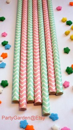 50 Pink and Mint Green Chevron Paper Straws  Baby by PartyGarden, $8.00