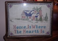 Vintage Handmade Needlepoint Sampler  Home Is by TheSingingTurtle, $38.00