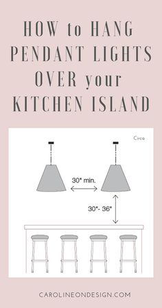 Kitchen Lighting Remodel How to Hang Pendant Lights over Kitchen Island Pin - This post will give you CONFIDENCE in your ability to tell your electrician exactly how you want your pendants to hang over your kitchen island! Kitchen Island Lighting, Kitchen Lighting Fixtures, Kitchen Pendant Lighting, Kitchen Pendants, Island Kitchen, Hanging Kitchen Lights, Kitchen Counters, Kitchen Cabinets, Kitchen Backsplash