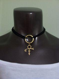 Prince Symbol Necklace Gold Plated Symbol Black Velvet