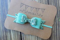 Mint glitter bow headband by muffintopsandtutus on Etsy