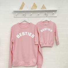 Besties Mother And Child Sweatshirt Set by Lovetree Design, the perfect gift for Explore more unique gifts in our curated marketplace. Mom And Me Shirts, Baby Shirts, Family Shirts, Cute Shirts, Kids Shirts, Mum And Daughter Matching, Mother Daughter Shirts, Mommy And Me Outfits, Mommy And Me Clothing