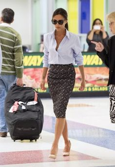 classic button down and pencil skirt