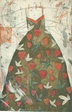 "Kirsi Neuvonen: ""Mansikkapuku (Strawberry Dress), 1987 (line etching, aquatint, dry-point) Collages, Strawberry Dress, Dress Painting, Paint Photography, Collagraph, T Dress, Fabric Dolls, Paper Dolls, Linocut Prints"