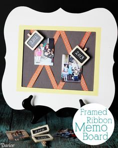 Framed Ribbon DIY Memo Board - This would be a perfect Christmas card holder!