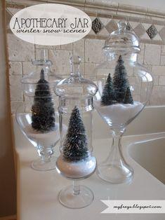 Apothecary Jar Winter Snow Scenes - Christmas Terrarium