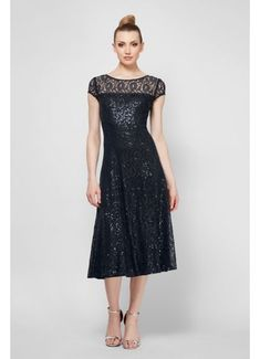 Cap Sleeve Sequin Lace Tea-Length Cocktail Dress 9119129
