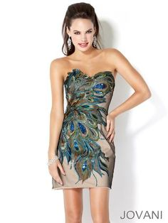 #Jovani peacock feather dress #prom www.pzazdresses.com
