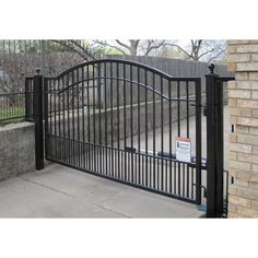 W x 5 ft. H 6 in. Powder Coated Steel Single Driveway Fence - The Home Depot Electric Driveway Gates, Wrought Iron Driveway Gates, Driveway Fence, Driveway Entrance, Electric Gates, Driveway Landscaping, Fence Gate, Entrance Gates, Fencing