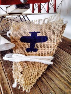 Airplane Triangle Burlap Banner Bunting Baby Boy Nursery Children's Room Decor. Perfect for a children's aviation birthday party!   Burlap by SweetThymes, $24.00
