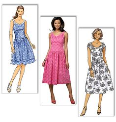 B5641 Misses'/Misses' Petite Dress – drop waist    MISSES'/MISSES' PETITE DRESS: Lined, bodice dress is fitted through the bustline and close-fitting at the waistline. A/B, C, D cup sizes.  FABRICS: Voile, Lightweight Broadcloth, Taffeta.  Unsuitable for obvious diagonals.