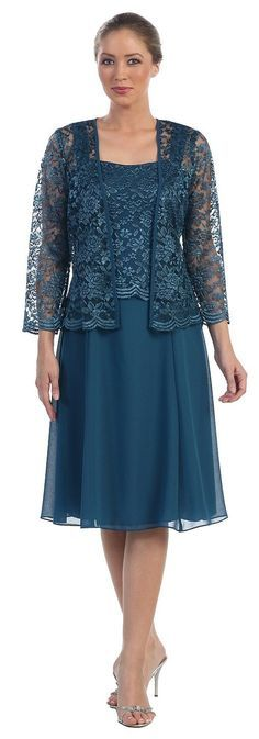 Short Mother of the Bride Dress Formal Plus Size Lace Jacket