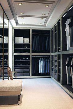 Modern Bachelor Pad Closet Designs For Guys Men Closet, Wardrobe Closet, Master Closet, Closet Bedroom, Closet Space, Front Closet, Huge Closet, Dream Bedroom, Small Walk In Wardrobe