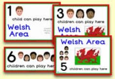 'How Many Children'  Welsh Area signs to show children how many children are allowed in a given area at one time