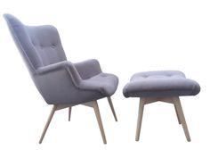 Fotel z podnóżkiem Old Style szary | DESIGNERSKI