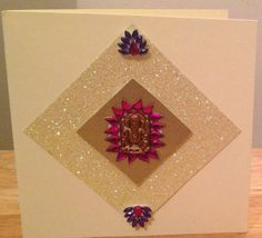 Hand made Diwali cards #indian #crafts #diamante  You can reuse the Ganesh and other decor from Hindu wedding invitations