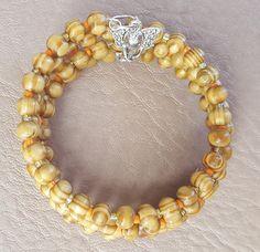 Brown wooden beads Memory Wire Stainless Steel Bracelet by KalaaStudio on Etsy