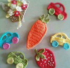 Printing Sculpture Innovation To Make Fridge Magnets Refrigerators Crochet Applique Patterns Free, Baby Knitting Patterns, Crochet Motif, Crochet Designs, Love Crochet, Crochet Flowers, Crochet Baby, Knit Crochet, Knitted Baby