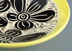 black and white flower bowl
