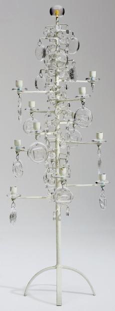 Erik Höglund; Enameled Metal and Glass Candle Holder,  c1955.