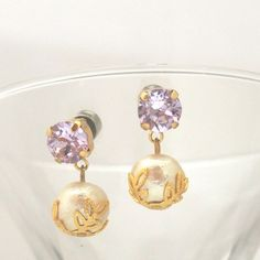 MiyabiGrace :Classy 10 mm Cotton Pearl Magnetic Earrings with Violet Swarovski Crystals, Bridal Pearl Magnetic Earrings, Wedding Pearl Magnetic Earrings #コットンパールイヤリング #コットンパールマグネットピアス #cottonpearl #cottonpearlearrings #cottonpearlmagneticearrings #magneticearrings #cliponearrings #pearlmagneticearrings #bridalpearlmagneticearrings #swarovskimagneticearrings #bridalmagneticearrings #bridalpearlcliponearrings #コットンパールイヤリング #コットンパールマグネットピアス #スワロフスキーマグネットピアス
