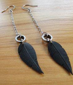 Black Innertube Feather Rivet Dangle Earrings Recycled