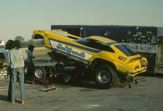 Jim Wemett's funny car driven by George Johnson at Green Valley Raceway, Texas in June 1977.