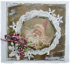 Christmas Card by LLC DT Member Karita Vainio, using image and paper from Landstoken.