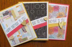 A set of 3 happy birthday cards to send to your loved ones!! >>Card Set Modern Happy Birthday Cards by HotWheelsAndGlueGuns, $12.00 #birthdaycards #handmadecards #giftideas