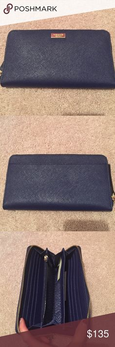 NWT Kate spade wallet New with tags Kate spade wallet. Color is indigo. Inside has space for many cards,cash, and a zippered inside pocket for change. kate spade Bags Wallets