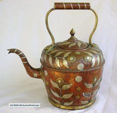 Teapot Brass & Copper & Silver Antique
