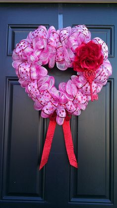 Free shipping Valentine's Day heart wreath by BetsyLuWreaths, $88.00