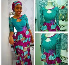 Colorful fabric mixed lace Ankara